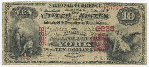 1875 $10 Farmers National Bank of York bill